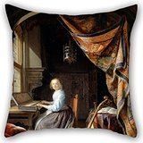 [Elegancebeauty 18 X 18 Inches / 45 By 45 Cm Oil Painting Dou, Gerrit - A Woman Playing A Clavichord Cushion Cases ,twice Sides Ornament And Gift To Dance Room,outdoor,him,pub,teens] (Nightwing Costume Amazon)