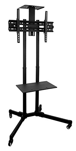 Mount-It! MI-876 TV Cart Mobile TV Stand Wheeled Height Adjustable Flat Screen Television Stands with Rolling Casters and Shelf, VESA Compatible TV Mount Bracket Fits Displays 37 to 70 Inch, 110 Lbs