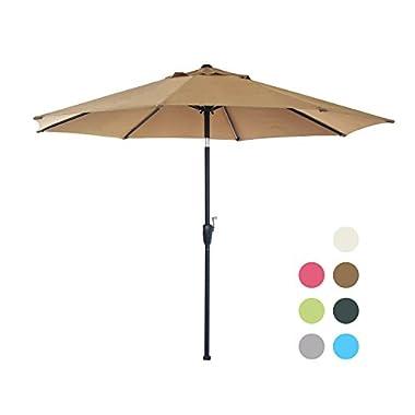 Blissun 9' Patio Umbrella Aluminum Semi-auto Autotilt and Crank Garden Parasol, 8 Ribs (Tan)