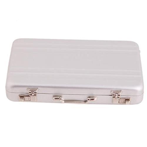 LALANG Mini Aluminum Safe Suitcase Briefcase Business Card Holder Box Case (Silver)