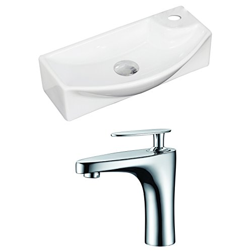 "picture of American Imaginations AI-15346 Rectangle Vessel Set with Single Hole CUPC Faucet, 18"" x 9"", White"