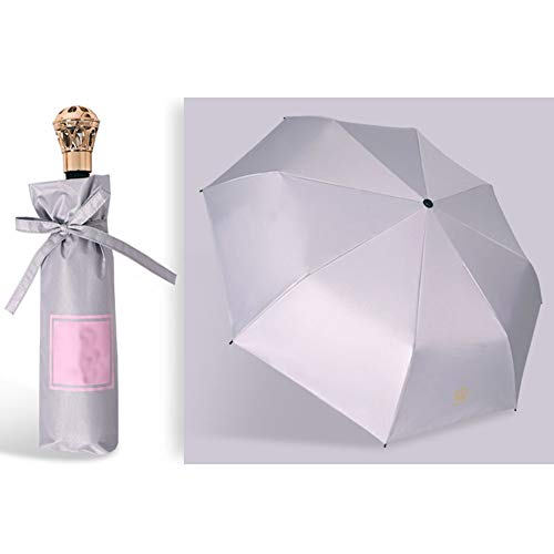 (KDYS Umbrella Three-folded Sunscreen, Parasol Black Glue Anti-uv Manual Open To Close 8 Ribs-gray 68x100cm(27x39inch))