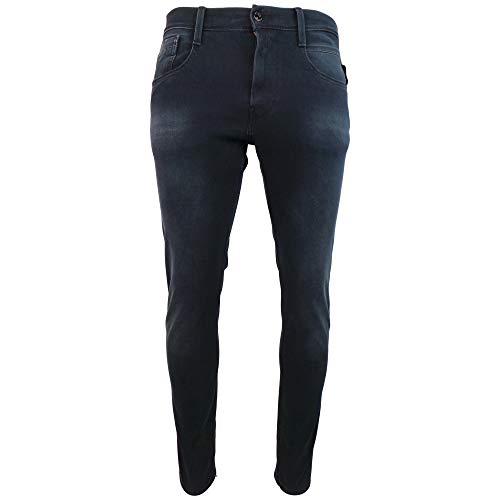 Replay Denim Pants - Replay Anbass Hyperflex Stretch Blue/Black Denim Slim Jeans W34 - L32 Navy/Black