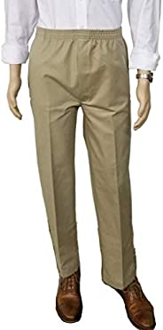 J & E Talit Men's Easy Dressing Full Elastic Waist Twill Casual Pull on Pant with