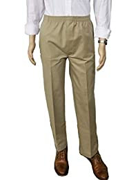 J & E Talit Men's Easy Dressing Full Elastic Waist Twill Casual Pull on Pant with Mock Fly