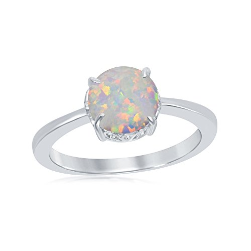 - Beaux Bijoux Sterling Silver Created White Opal Round Filigree Ring