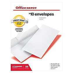 Office Depot Clean Seal(TM) Envelopes, 10 (4 1/8in. x 9 1/2in.), White, Box Of 500, 12014