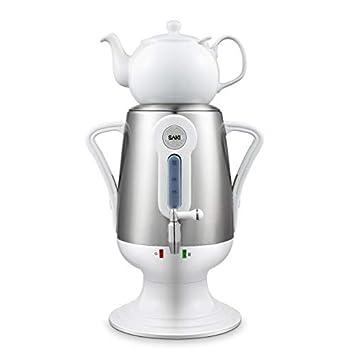 Image of SAKI Electric kettle (3.2 l 110 V) Samovar Tea Maker with Porcelain Tea-Pot, Stainless-steel Infuser, Keep Warm Mode - Hot Water Heater - Brew tasty Green, Black, Turkish, Russian, Persian tea (White)