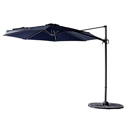 FLAME&SHADE 10' Hanging Patio Umbrella, Outdoor Offset Garden Umbrella, Cross Base, 360° Rotation, Infinite Tilt, Navy Blue