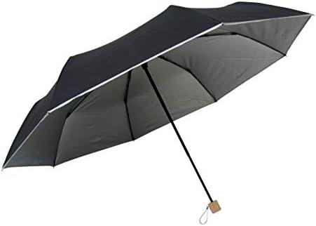 直径123cm! 晴雨兼用 ビッグサイズミニ傘ひっくり返っても元通り丈夫な耐風骨×シルバー生地 日傘 軽量70cm折りたたみミニ傘 (表黒/裏シルバー)