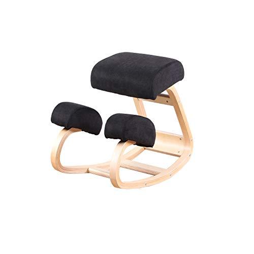 Silla ergonomica de Rodilla Equilibrio Taburete de Madera para Oficina en casa y Silla de Escritorio Gran Asiento Grueso y comodo (Negro)