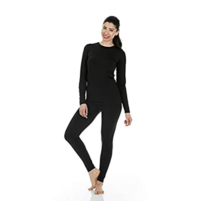 Thermajane Women's Ultra Soft Thermal Underwear Long Johns Set with Fleece Lined at Women's Clothing store