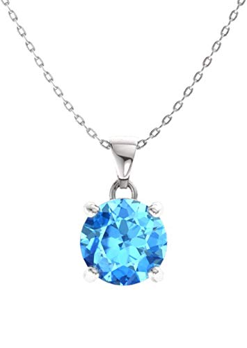Diamondere Natural and Certified Blue Topaz Solitaire Petite Necklace in 14k White Gold | 0.42 Carat Pendant with Chain ()