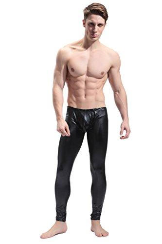 FR Men's Faux Leather Tight Pants Black X-Large
