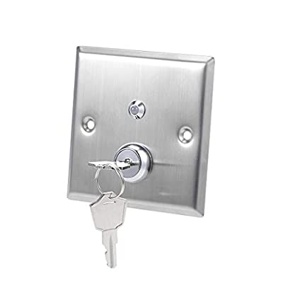 uxcell Key Switch On/Off Exit Switches Emergency Door Release SPST for Access Control with DC 12V Red Green LED Indicator