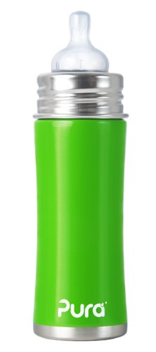 Pura Kiki Stainless Infant Bottle Stainless Steel with Natural Vent Nipple, 11 Ounce, Spring Green, 3 Months+ (Plastic Free, NonToxic Certified, BPA Free)