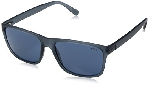 Polo Ralph Lauren Men's Injected Man Rectangular Sunglasses, Matte Navy Blue, 57 - Blue Lauren Ralph Glasses