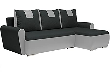 Gino Dark Large Fabric Corner Sofa Bed With Storage Sleeping Area