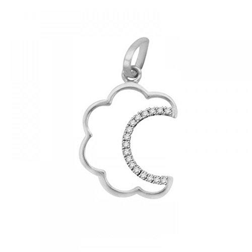 Or Blanc 18 ct Pendentifs Diamant , 0.08 Ct Diamant, GH-SI, 0.84 grammes.