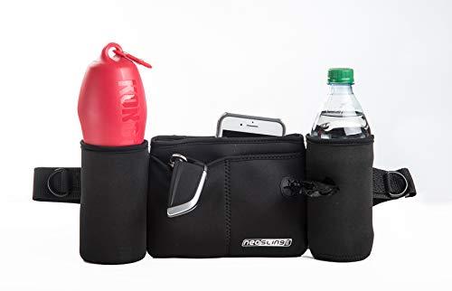 2 Bottle Fanny Pack - H2O4K9 Neoprene Double Bottle Carrier - Waistpack Fanny Pack Carrier (Black)