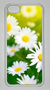 Cute White Flowers DIY Hard Shell Transparent iphone 5C Case By diycenter