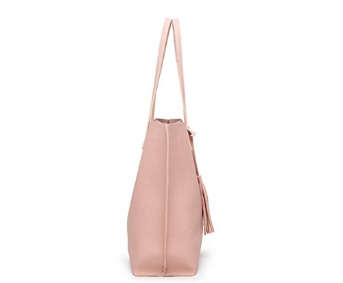 Shoulder Satchel Handbags Tote Bags Handle Nodykka Women Leather Pebbled Top Tassel Purse Pink PU n4qRxPn6p