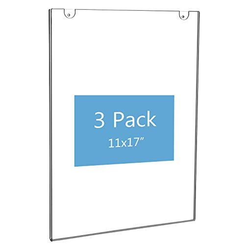 NIUBEE 11x17 Acrylic Wall Sign Holder Vertical, Clear Plastic Poster Frame for Paper, Bonus with 3M Tape and Mounting Screws(3 Pack) ()