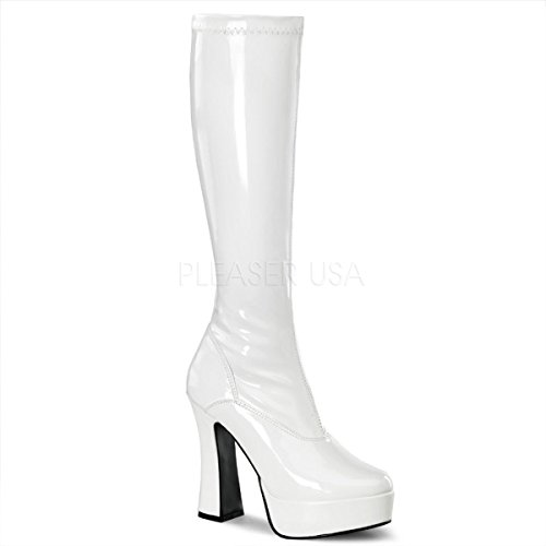 Pleaser Women's Electra-2000Z,White Patent,7 ()