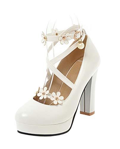 Tacco Flats FBUIDD006979 Ballet Puro Alto AllhqFashion Donna Fibbia Bianco Luccichio ROqA175w