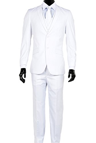 Elegant Men's Slim Fit Two Button Three Piece Suit (36 Regular, White) ()