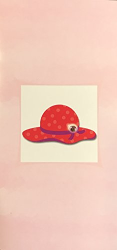 (6) Red Polka Dot Hat with Jewel Blank Note Cards - White Envelopes