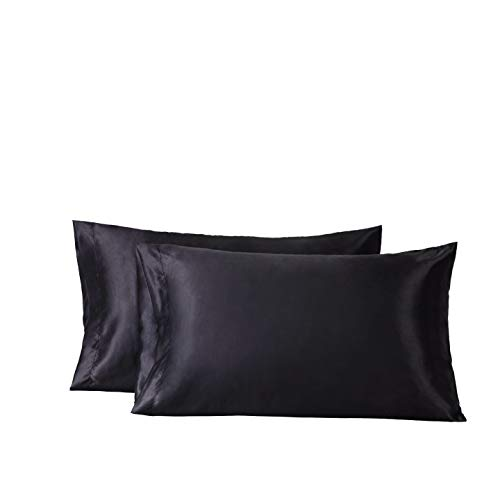 (Bedsure Satin Pillowcase for Hair and Skin Queen Size Black Set of 2 Envelope Closure Pillow Cases)
