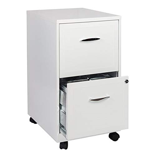 (Scranton & Co 2 Drawer Steel Mobile File Cabinet in Pure White)