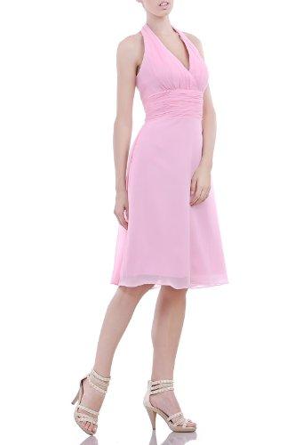 line Modest Natrual Bridesmaid Halter Pink Chiffon Dress Formal Evening A Length Knee Adorona fpFUq8wF