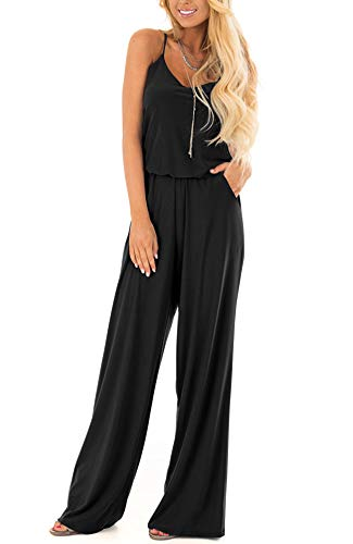LACOZY Womens Casual Loose Sleeveless Spaghetti Strap Wide Leg Pants Jumpsuit Rompers