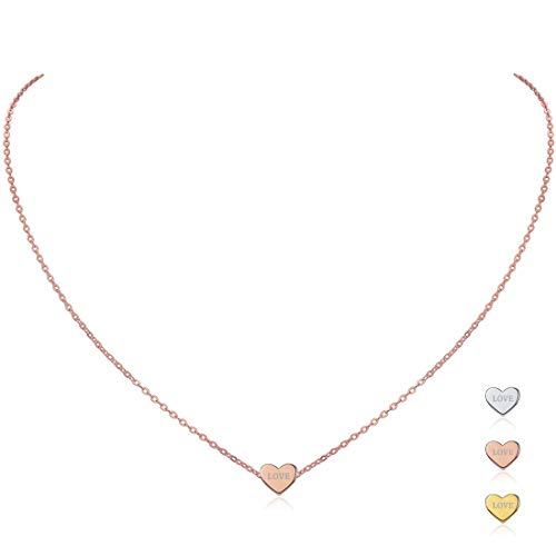 (ChicSilver Personalized Heart Necklace, Rose Gold Plated Custom Couple/Lover Name Engravable Pendant Necklace for Women)