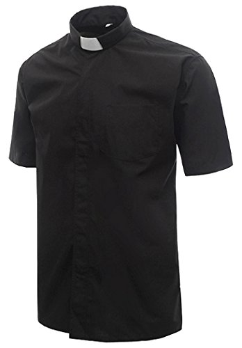 Ivyrobes Mens Short Sleeves Clergy Shirt XX-Large Black (Necksize 17