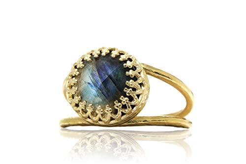 Stunning Labradorite Ring by Anemone Jewelry - 14k Gold-filled Ring Jewelry with 10mm Labradorite Gem in Prong Setting - Handcrafted Labradorite Jewelry - Sizes 3-12.5 [Free Fancy Box]