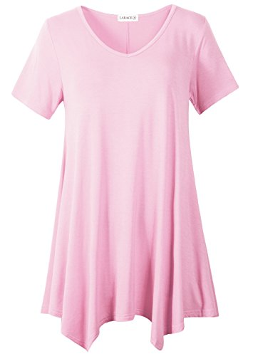 (LARACE Women Casual T Shirt V-Neck Tunic Tops for Leggings(M, Pink))