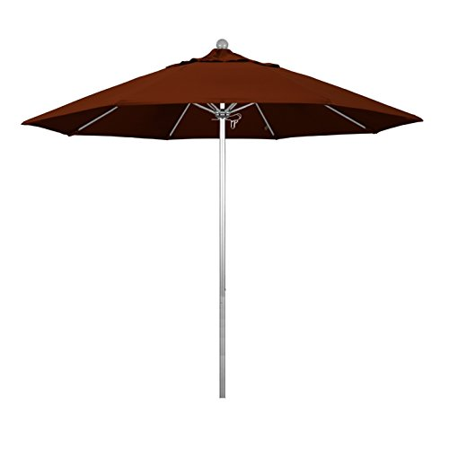 Brick Outdoor Commercial - Phat Tommy 9 Ft Silver Anodized Commercial Patio Market Umbrella - For Shade, Brick