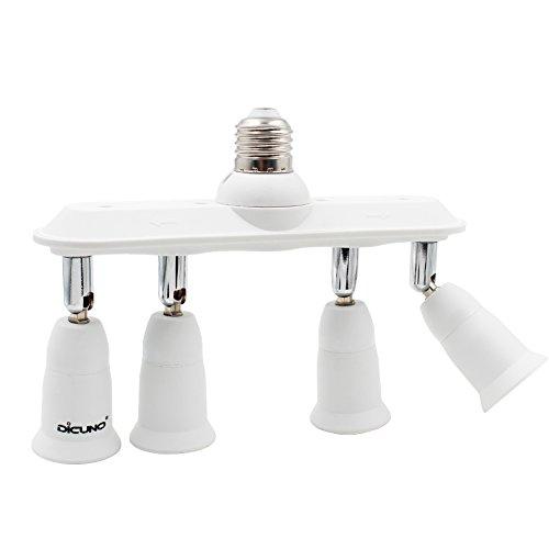 DiCUNO Light Socket Splitter Adapter, 4 in 1 E26 E27 Socket Converter, Bulb Lamp Horizontal Designed 360 Degrees Adjustable 180 Degrees Bending ()
