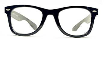 1b7328ac55 Image Unavailable. Image not available for. Color  Vintage Retro Style  Oversized Black Frame Nerd Geek Clear Lens Glasses ...