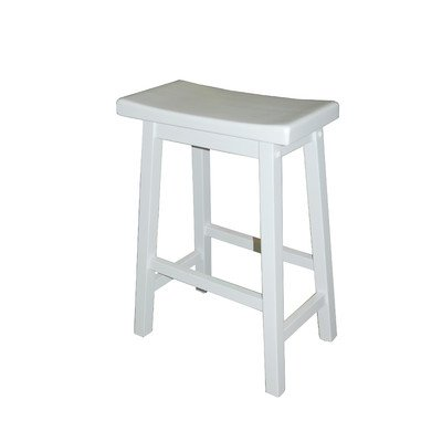 TMS 24-Inch Arizona Sadde Stool, White (Red Saddle Seat Bar Stool)