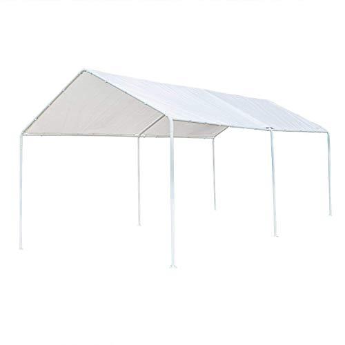 Frame 10ft Aluminum (VINGLI Heavy Duty 10' x 20' Carport Domain Car Canopy, Upgraded Steady Steel 6 Legs, Versatile Garage Vehicle Sunshine Shelter, Outdoor Garden Gazebo Pavilion Event Tent,Anti UV Waterproof)