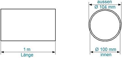 Tubo de ventilación (Diámetro 100 Mm Longitud 1 M metros de tubería de plástico redondo Tubo Redondo Canal Canalizado Canalizado Canal Campana Canal 10 cm de diámetro y 100 cm de largo