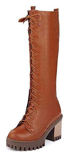 Chfso Donna Elegante Tinta Unita Lace Up Tacco Alto Stivali Invernali Tacco Alto Giallo