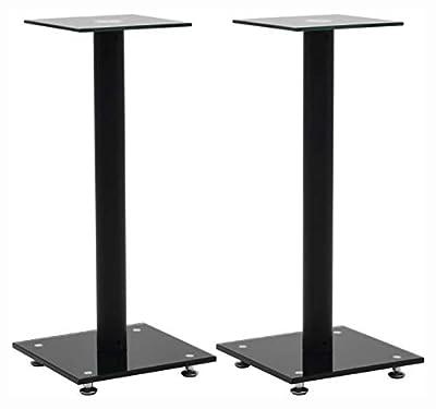 K&A Company Speaker Stand & Mount, Speaker Stands 2 pcs Tempered Glass 1 Pillar Design Black