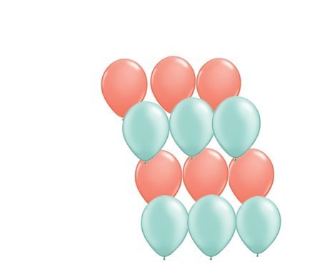 12ct Assorted Mint Green and Coral Latex Balloons