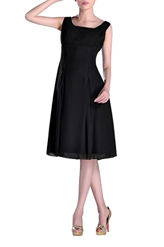 Bridesmaid Special Black Pleated the of Mother Dress Brides Formal Length Knee Occasion BrqHOpB