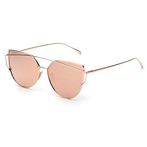 Anywa Fashion Twin-Beams Classic Women Metal Frame Mirror Sunglasses Cat Eye Glasses (Gold, Rose Gold) - Gold Cats Eye